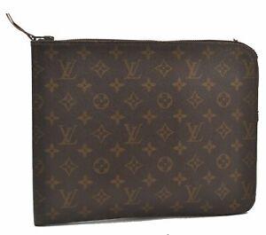 Authentic Louis Vuitton Monogram Poche Documents Brief Case Old Model LV B3933