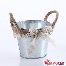 PORTAVASO vaso secchiello fioriera LATTA juta fiocco cm15 fiori Piante Shabby