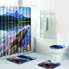 Green Tree Lake & Snowy Mountains Shower Curtains Nature Scenic Bathroom Rug Mat