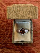 * White Gold Oval Cinnamon Color Garnet Ring - Antique Style - With Diamonds *