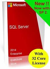 SQL Server 2014 Enterprise SP2 32 Core License UNLIMITED CALs