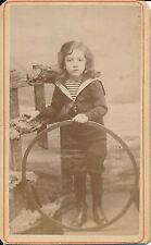 CDV c. 1890 - Photo Enfant Marinière Jouet Arceau  - 1232