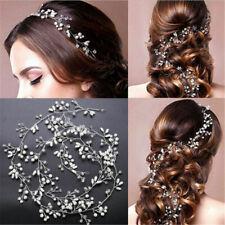 US. 35cm Pearl Wedding Hair Vine Crystal Bridal Accessories Diamante Headbands