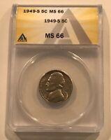 1949 S Jefferson Nickel 5c ANACS MS 66