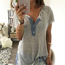 Fashion Womens Loose Button Plus Blouse Summer Short Sleeve T Shirt Tank Tops