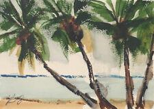 "New Original KEN Seascape Palms Watercolor Painting 5x7"" Pacific Ocean 090418-3"