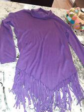 Peter Nygard large Cowl Neck Fringe Tunic Sweater Top Purple  NWOT