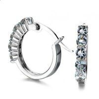 Wedding Jewelry Round Natural White Fire Topaz  Gems Silver Stud Hook Earrings