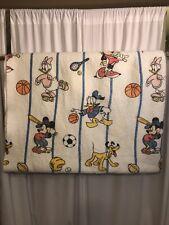 Mickey Mouse Twin Blanket Poly Satin Trim Sports Daisy Donald Pluto Minnie VTG