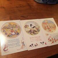 Vintage Molly Brett Nursery Rhyme Post Cards - Medici Society Unused