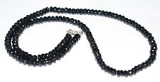 """Black Spinel Gemstone 6 mm Round Beads 925 Sterling Silver 12"""" Strand Necklaces"""