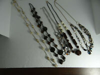 Lot of 5 Mixed Costume Long Necklaces Faux Pearls Gold Tone Silver Tone