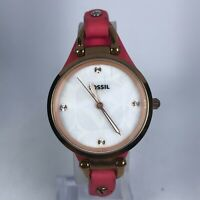 Fossil Womens ES3299 Stainless Steel Pink Leather Band Gold Tone Dial Wristwatch