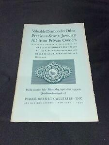 Diamond & Precious Stone Jewelry 1954 Parke-Bernet Antique Auction Catalog