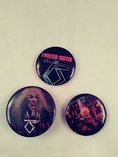 Lot of 3 vintage Twisted Sister pins from the 80's Dee Snider band logo