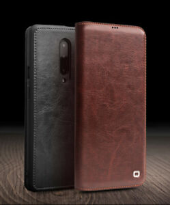 QIALINO 1Card Slot Slim Leather Flip Wallet Case for OnePlus 7 Pro/7/7T/7T Pro