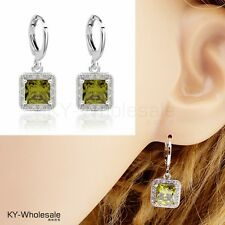 Fashion Pop Real Platinum Plated Green Cubic Zircon Classic Drop Earrings