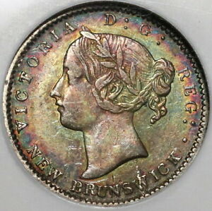 1862 NGC XF 45 New Brunswick Canada 10 Cents Scarce Silver Coin (20030702C)