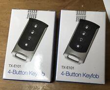 Lot of 2 Interlogix TX-E101 Wireless 4-Button Chrome  Keyfob Key NEW