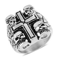 Halloween Black Oxidized Cross & Skulls Stainless Steel Ring (Size 12.0)