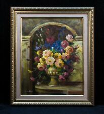 Signed R. Wilcox Oil Painting on Canvas Still Life Floral Art Artwork Gold Frame