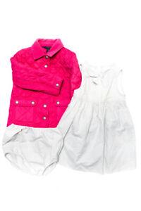 Polo Ralph Lauren Jacadi Girl Snap up Puffer Coat Striped Dress Pink 36M 4 Lot 2