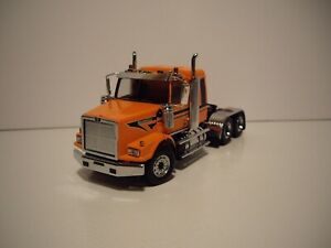 DIECAST MASTER 1/50 METALLIC ORANGE WESTERN STAR 4900 SB W/T SLEEPER FIRST GEAR