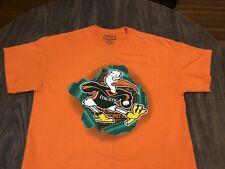 University Of Miami Hurricanes Sebastian The Ibis Mascot Medium Orange T Shirt