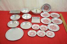 Vintage Aluminum Childs Kitchen Cookware Lot Dishes Toys 20 Pcs #900