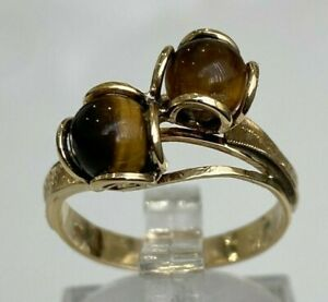 14ct Solid gold & Tigers Eye stone ring 3.43g size O -  7