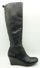 Tory Burch Black Grain Leather Tall Side Zipper Wedge Boots Women's 6.5 M