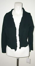 CALVIN KLEIN BLACK RUFFLE TRIM SWEATER CARDIGAN NEW WITH TAGS SIZE LARGE