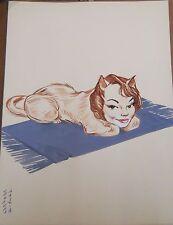 """Georges Bastia caricature Arnoul gouache  l'album """"Le Zoo des Vedettes"""" P1032"""