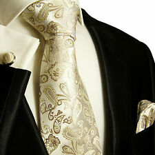 Krawatten Set 3tlg ivory braun SEIDE Paul Malone 762