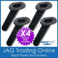 4 x ROUND BASE BLACK PLASTIC FLUSH MOUNT ROD HOLDERS - BOAT / FISHING / OVAL TOP