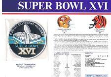 Super Bowl XVI 49ers Cincinnati Bengals Willabee Ward Jersey Patch Joe Montana