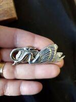 Vintage Sterling silver H&H double Swan brooch
