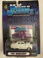 Muscle Machines 49 1949 Mercury Coupe Pearl White Rubber Tire DieCast 1/64 Scale