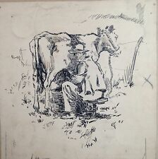 TF (initials) / Ink drawing of a man milking a cow
