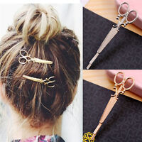 2Pcs Women Scissors Shape Hair Clip Gold Silver Hair Pin Vintage Hair Accessory