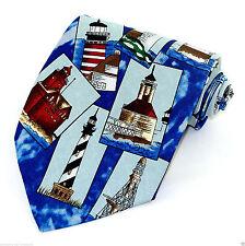 Lighthouse Blocks Mens Necktie Ocean Sea Water Nautical Gift Blue Neck Tie