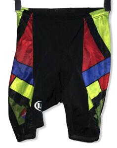 Vintage Louis Garneau Women's Sz Small Black/Red/Green Geometric Cycling Shorts