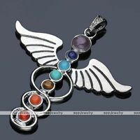1x Angel Wings 7 Stone Healing Point Chakra Gemstone Charm Pendant For Necklace
