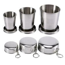 US 3-6 Pack Stainless Steel Portable Camping Travel Folding Collapsible Cups