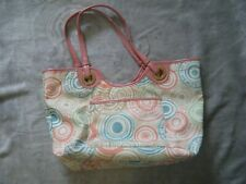 Coach F19184  Multicolor Beach Print Nylon Tote w/Pink Leather Trim Shoulder Bag