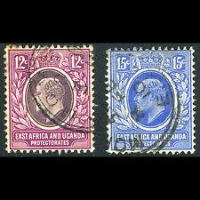EAST AFRICA & UGANDA 1907 12c & 15c. SG 38-39. Fine Used. Slight Tone. (CA68M)