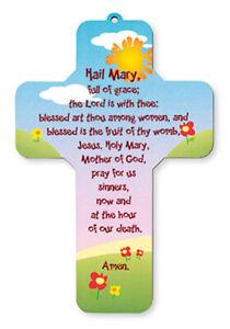 Children's ' The Hail Mary Prayer ' Lazer Cut Wooden Cross Religious Gift