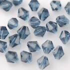 50pcs 6mm Bicone Faceted Crystal Glass Loose Spacer Beads Findings Ink Blue