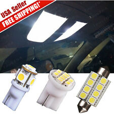 "11 White LED Lights Interior package kit T10 & 1.72"" Dome Map License Plate Lamp"