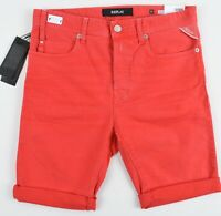 REPLAY Men's Stretch Denim Taper Shorts, Red, size W 28